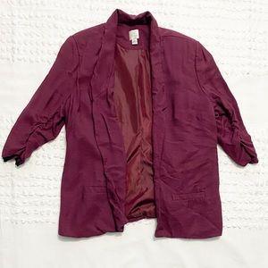 Lauren Conrad wine open front blazer jacket 16